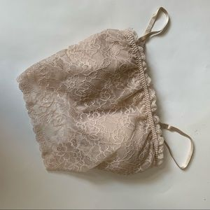 New York and Company Nude Lace Crop Top